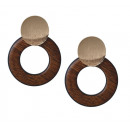 Earrings double circles wood K1083