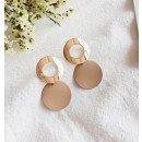 Double circle earrings with cream K1082K