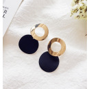 Earrings double circles of mass black K1082CZ