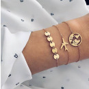 Set of 3in1 bracelets wheels airplane gold map