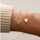 Set of 2in1 bracelets lotos gold heart B293