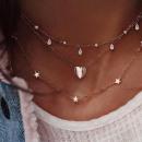 ingrosso Gioielli & Orologi: Collana multi cuore celebrità d'oro N657