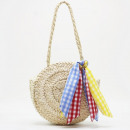 BAG Wicker round beauty with scarf T163