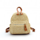 Mini wicker backpack with green accessories PL129Z