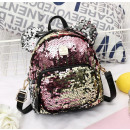 Women's backpack in sequins with colorful ears
