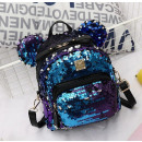 Women's backpack in sequins with blue ears PL1