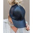 Großhandel Kopfbedeckung: Damenmütze mit Pony Brokat schwarz CZ