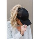 Großhandel Kopfbedeckung: Damenmütze für Pony schwarz CZ09CZ