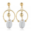 Hanging earrings with golden shell K1113