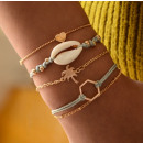 A set of bracelets 5in1 golden scallop palm B330