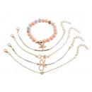 Set of bracelets 5in1 golden star B336