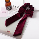 Hair band long scarf velvet burgundy PIN