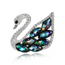 wholesale Beads & Charms: Swan brooch on rosette jet BZ9
