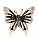 grossiste En perle et Charme: Broche papillon BZ40 noire