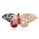 grossiste En perle et Charme: Broche papillon rouge BZ41