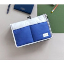 Hanging trolley organizer or standing blue O