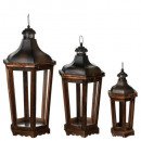 octagonal wood lantern x3, brown
