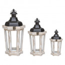 wholesale Wind Lights & Lanterns: octagonal wood lantern x3, white