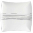 plate flat square lines 26cm