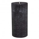 black rustic round candle 6.8x14, black
