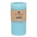 turquoise rustic round candle 6.8x14, light blue