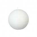 white rustic ball candle d10, white