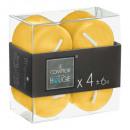 candela votiva gialla 3,8x3,8 x4, gialla