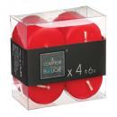 Vela votiva roja 3.8x3.8 x4, roja