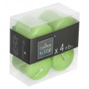 green votive candle 3.8x3.8 x4, green
