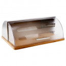 stainless steel bread box + plastic + bamboo, tran