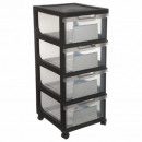 round 4 drawers xl slate, 2- times assorted , colo