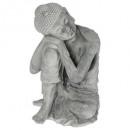bouddha assis 25.5x25.5x36, gris