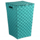 cesta de la ropa turquoi trenza, azul medio