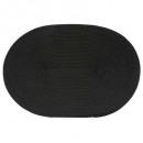 conjunto de mesa trenza ovalada negro, negro