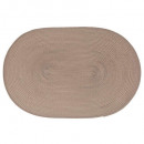 set table tresse oval taupe, blanc