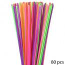 pailles jumbo x80, multicolore