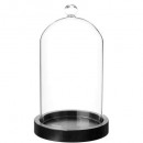 cloche verre socle bois h19, transparent