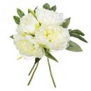 bouquet 4 peonia bianca h30, bianco