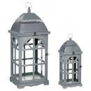 lanterne bois x2, gris