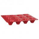 molde de silicona pro 12 briochettes, rojo