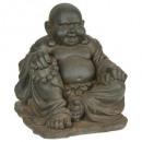 lachende Boeddha steen h36, bruin
