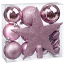 christmas ball kit 18 pieces pink