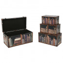 trunk pu printed book x4, brown