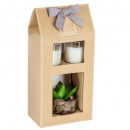 box 2 candles + artificial plant, 3- times assorte