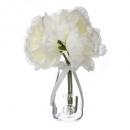 compo 3 pivoines vase verre h25, blanc