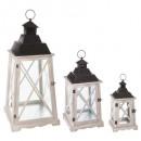 ingrosso Home & Living: lanterna legno + metallo romanticismo x3, ...