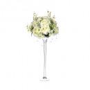 compo roses vase verre h64, ivoire