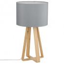 graue Holzfußlampe H47.5, grau