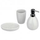 bathroom accessories x 3 sun white, white