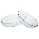 plat ovale verre x2, transparent